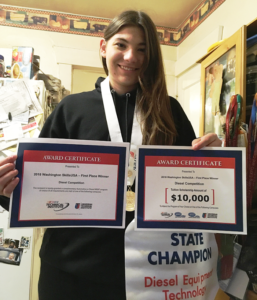 McKenzie Budrow- Everett Online High School Student First Female To Win State Diesel Competition